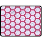 HEXAGON2 WHITE MARBLE & PINK DENIM (R) Double Sided Fleece Blanket (Large)  80 x60  Blanket Back