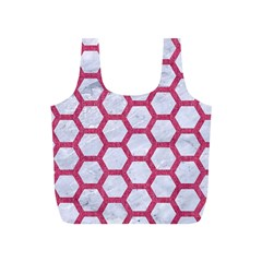 HEXAGON2 WHITE MARBLE & PINK DENIM (R) Full Print Recycle Bags (S)