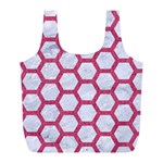 HEXAGON2 WHITE MARBLE & PINK DENIM (R) Full Print Recycle Bags (L)  Front