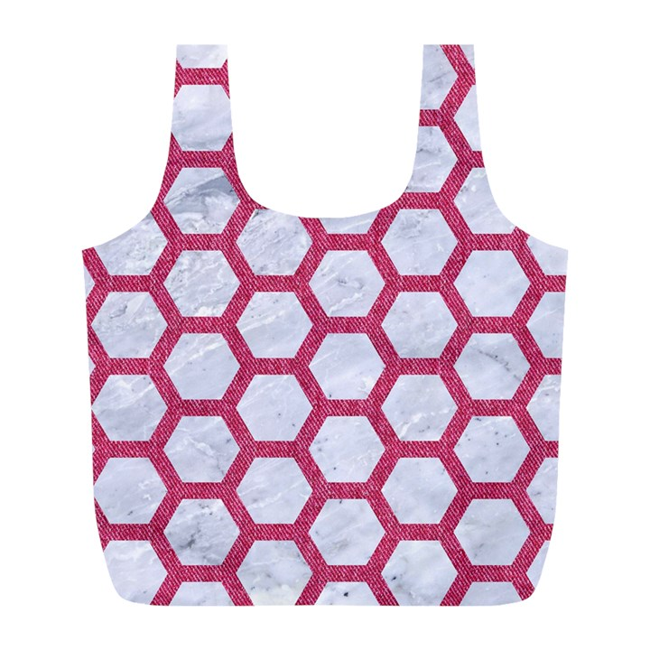 HEXAGON2 WHITE MARBLE & PINK DENIM (R) Full Print Recycle Bags (L)