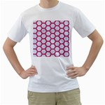 HEXAGON2 WHITE MARBLE & PINK DENIM (R) Men s T-Shirt (White)  Front