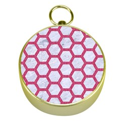HEXAGON2 WHITE MARBLE & PINK DENIM (R) Gold Compasses