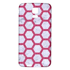 Hexagon2 White Marble & Pink Denim (r) Samsung Galaxy S5 Back Case (white)
