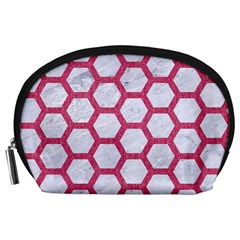 Hexagon2 White Marble & Pink Denim (r) Accessory Pouches (large)  by trendistuff