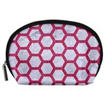 HEXAGON2 WHITE MARBLE & PINK DENIM (R) Accessory Pouches (Large)  Front