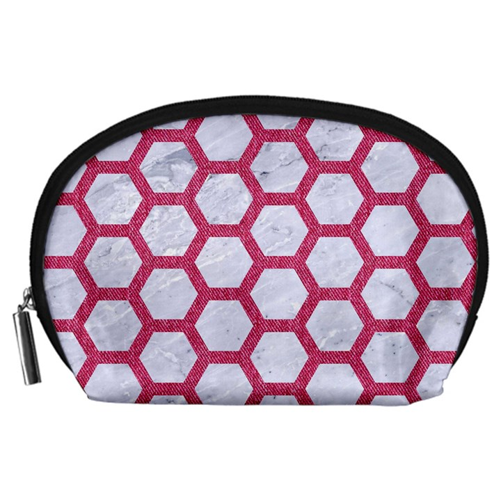 HEXAGON2 WHITE MARBLE & PINK DENIM (R) Accessory Pouches (Large)