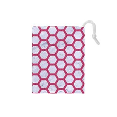 Hexagon2 White Marble & Pink Denim (r) Drawstring Pouches (small)  by trendistuff