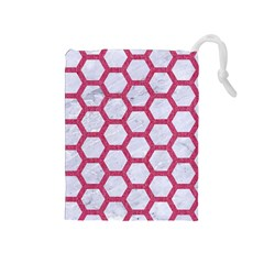 Hexagon2 White Marble & Pink Denim (r) Drawstring Pouches (medium)  by trendistuff