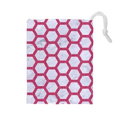 Hexagon2 White Marble & Pink Denim (r) Drawstring Pouches (large)  by trendistuff