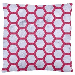 HEXAGON2 WHITE MARBLE & PINK DENIM (R) Large Flano Cushion Case (One Side)
