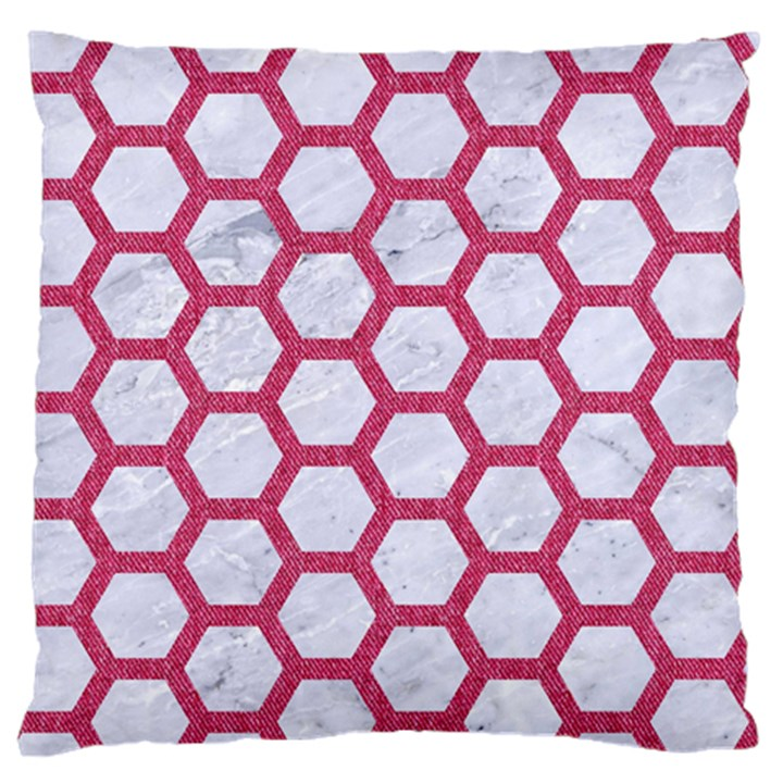 HEXAGON2 WHITE MARBLE & PINK DENIM (R) Large Flano Cushion Case (Two Sides)