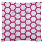 HEXAGON2 WHITE MARBLE & PINK DENIM (R) Large Flano Cushion Case (Two Sides) Back