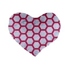 Hexagon2 White Marble & Pink Denim (r) Standard 16  Premium Flano Heart Shape Cushions