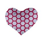 HEXAGON2 WHITE MARBLE & PINK DENIM (R) Standard 16  Premium Flano Heart Shape Cushions Back