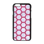 HEXAGON2 WHITE MARBLE & PINK DENIM (R) Apple iPhone 6/6S Black Enamel Case Front