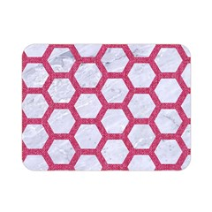 HEXAGON2 WHITE MARBLE & PINK DENIM (R) Double Sided Flano Blanket (Mini)
