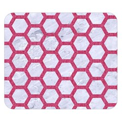 HEXAGON2 WHITE MARBLE & PINK DENIM (R) Double Sided Flano Blanket (Small)
