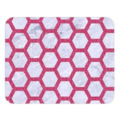 HEXAGON2 WHITE MARBLE & PINK DENIM (R) Double Sided Flano Blanket (Large)