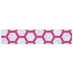 HEXAGON2 WHITE MARBLE & PINK DENIM (R) Small Flano Scarf