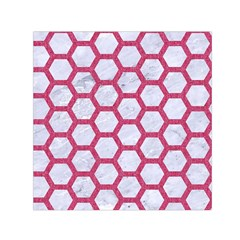 HEXAGON2 WHITE MARBLE & PINK DENIM (R) Small Satin Scarf (Square)