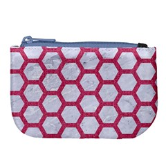 Hexagon2 White Marble & Pink Denim (r) Large Coin Purse by trendistuff