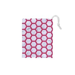 Hexagon2 White Marble & Pink Denim (r) Drawstring Pouches (xs)  by trendistuff