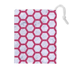 Hexagon2 White Marble & Pink Denim (r) Drawstring Pouches (extra Large) by trendistuff