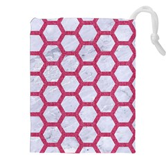 Hexagon2 White Marble & Pink Denim (r) Drawstring Pouches (xxl) by trendistuff