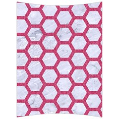 HEXAGON2 WHITE MARBLE & PINK DENIM (R) Back Support Cushion