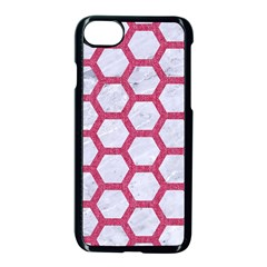 HEXAGON2 WHITE MARBLE & PINK DENIM (R) Apple iPhone 8 Seamless Case (Black)