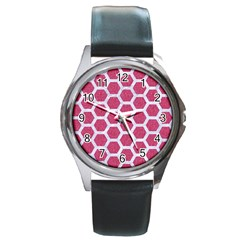 Hexagon2 White Marble & Pink Denim Round Metal Watch by trendistuff