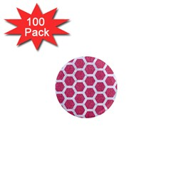 Hexagon2 White Marble & Pink Denim 1  Mini Magnets (100 Pack)  by trendistuff