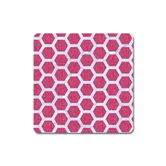 Hexagon2 White Marble & Pink Denim Square Magnet by trendistuff