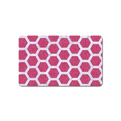 Hexagon2 White Marble & Pink Denim Magnet (name Card) by trendistuff