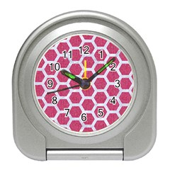 Hexagon2 White Marble & Pink Denim Travel Alarm Clocks by trendistuff