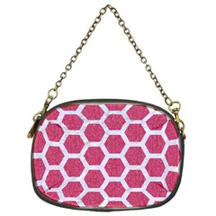 Hexagon2 White Marble & Pink Denim Chain Purses (one Side)  by trendistuff