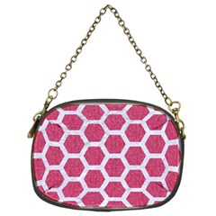 Hexagon2 White Marble & Pink Denim Chain Purses (two Sides)  by trendistuff