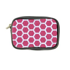 Hexagon2 White Marble & Pink Denim Coin Purse by trendistuff