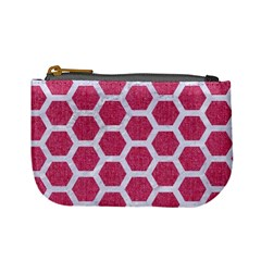 Hexagon2 White Marble & Pink Denim Mini Coin Purses by trendistuff