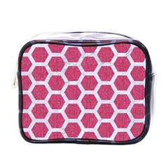 Hexagon2 White Marble & Pink Denim Mini Toiletries Bags by trendistuff