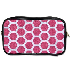 Hexagon2 White Marble & Pink Denim Toiletries Bags 2 Side by trendistuff