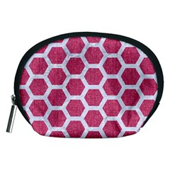 Hexagon2 White Marble & Pink Denim Accessory Pouches (medium)  by trendistuff