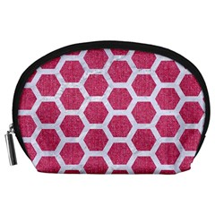 Hexagon2 White Marble & Pink Denim Accessory Pouches (large)  by trendistuff