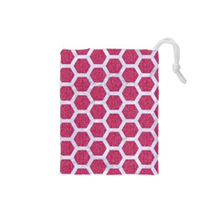 Hexagon2 White Marble & Pink Denim Drawstring Pouches (small)  by trendistuff