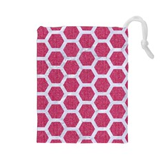 Hexagon2 White Marble & Pink Denim Drawstring Pouches (large)  by trendistuff