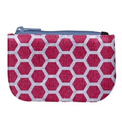 Hexagon2 White Marble & Pink Denim Large Coin Purse by trendistuff