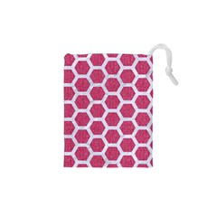 Hexagon2 White Marble & Pink Denim Drawstring Pouches (xs)  by trendistuff