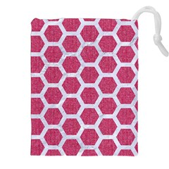 Hexagon2 White Marble & Pink Denim Drawstring Pouches (xxl) by trendistuff