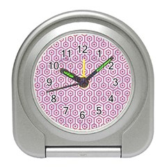 Hexagon1 White Marble & Pink Denim (r) Travel Alarm Clocks by trendistuff
