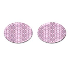 Hexagon1 White Marble & Pink Denim (r) Cufflinks (oval) by trendistuff